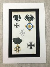 1858 Prussian Military Medals Black Eagle Iron Cross Chromolithograph Print