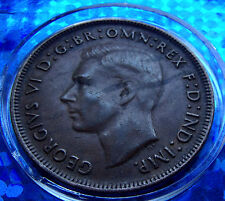 ERROR Mirror Kangaroo Die Clash Outline 1943 Australia Penny. Great ERROR Coin!