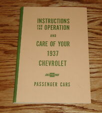 1937 Chevrolet Passenger Cars Owners Operators Manual 37 Chevy