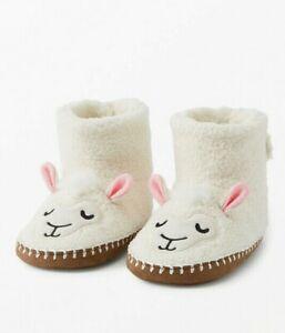 NWT Hanna Andersson Critter Plush White Llama Kids Slippers 2-3Y, 4-5Y