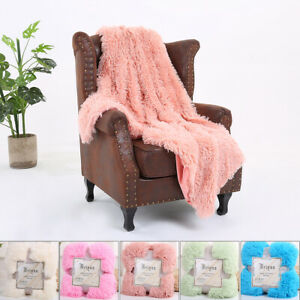Large Shaggy Fluffy Blanket Soft Warm Faux Fur Throw Fleece Sofa Cushion Cover