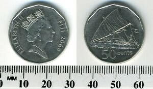 Fiji Islands 2009 - 50 Cents Coin - Elizabeth II - Sailing canoe - Takia