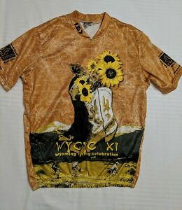 Louis Garneau Cycling Jersey XL Cowboy Boots Wyoming Black Eyed Susan Flowers