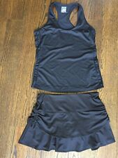 Lucky In Love Tennis Outfit Top Medium Skort Small EUC Women's Black