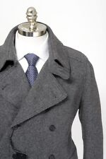 Mens DOLCE & GABBANA Gray Melange Wool DB Pea Coat Jacket 56 46 2XL / XL NWT
