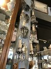 Set of Four Circa 1938 Hollywood Regency Mirrored Crystal Drop Wall Sconces