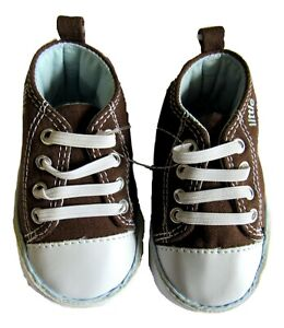 Carter's Baby Boys High Top Slip on Crib Shoes Brown Up To 3 Months Monkey