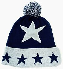 STAR Skull Cap Cuff Pom Beanie Winter Hat Cuffed Navy Gray New