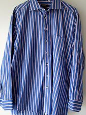 Haupt Shirt 42 16 1/2 Blue Red White Stripes Button Down Long Sleeves Mens