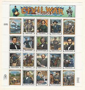 Usa: 1994; Scott 2975, pane of 20, civil war, military, MNH. EBN117