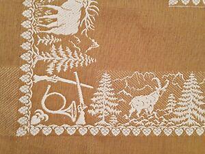 VINTAGE AUTHENTIC SEIT 1819 ALPINE HUNTING ART TYROL MUSTARD COTTON TABLECLOTH