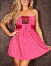 SeXy Miss Damen Pailletten Bandeau Dress Cocktail Mini Kleid 34/36/38 pink Neu