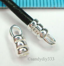 4x STERLING SILVER 2mm LEATHER CORD CRIMP END CAP #1262