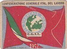 TESSERA CGIL 1952  PROVINCIA DI SAVONA  9-39