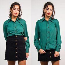 Vintage años 70 Verde Botella Camisa Blusa Collar puntiagudo de Mujer Estilo Retro Llano 16