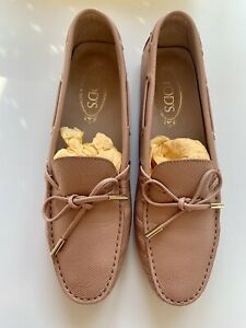 Tods Pink Blush Leather 'Gommino' Loafers Driving Shoes - Size 7 EU 40