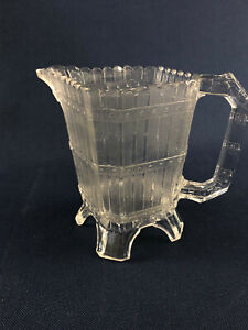 Antique King Glass Co. clear pressed glass creamer PICKET or London c.1880s