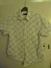 Mens White & Blue Stitch Pattern Cotton Shirt in Size Large - Chest 44""