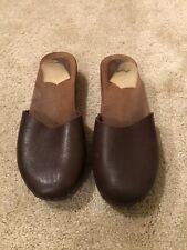 Vintage Wodden Clog Sandals Size 44 or men's 11 Brown Leather Upper