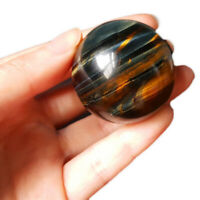 Natural Yellow Blue Tiger Eye Crystal Ball Magic Quartz Sphere With Stand  V2Q3