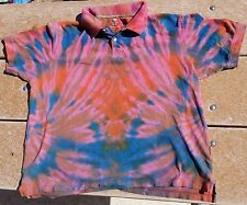 Tie Dye Adult Ladies Polo Shirt XL Pink Fire Flare Faded Glory Multi-Color