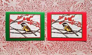 5 Handmade Chickadee Christmas Cards Linocut Block Print Holiday Set Card Bird