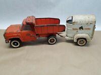 Vintage Metal Pressed Tonka Dump Truck & Tonka Farms Horse Trailer