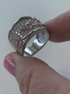 925 Silver Pink Topaz and Cubic Zirconia Statement Ring Size P. Large Band.
