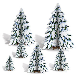 CHRISTMAS WINTER PINE TREE CENTREPIECES WONDERLAND PARTY DECORATIONS SNOW FROZEN