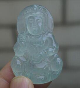 Beautiful Icy jadeite jade with handmade carved kwanyin guanyin Pendant / neckla