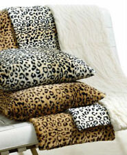 New Charter Club Faux Fur Plush Leopard Animal Print & Ivory Cream Throw Blanket