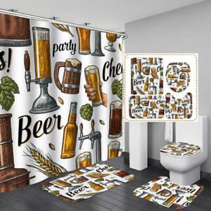 Draft Beer Pattern Shower Curtain Bath Mat Toilet Cover Rug Bathroom Decor