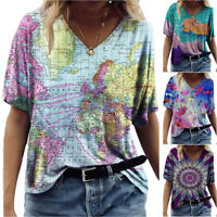 Women Map Painting Flower Print Casual T-Shirt Holiday Short Sleeve Blouse Tops