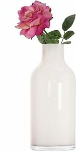 Glass Large Tall Artisan WHITE Milk Bottle Vase H35cm Mothers day - Gift - Home