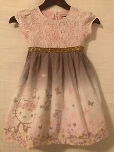 HELLO KITTY Dillards Girls Size 6 Dress Butterfly Pink Purple Lace Gold Shimmer