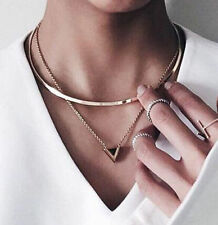 Fashion Women Gold Big Circle Choker Necklace Chain Enamel Triangle Pendant