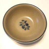 "Pfaltzgraff Folk Art Coupe Soup Cereal Bowl Tan w/Blue Floral 6"" Set Four (4)"