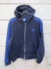 Veste à capuche ADIDAS noir rétro vintage tracktop jacket trefoil M coton