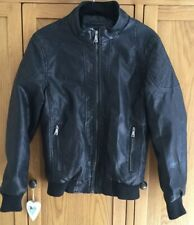 Mens Faux Leather Bomber Jacket/ Coat Size M- Black- Biker Look- New Yi He