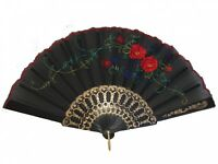 Black Chinese Folding Cloth Hand Fan