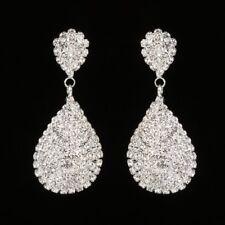 Full Crystal Teardrop Drop Dangle Earrings Women Elegant Banquet Jewelry Gift