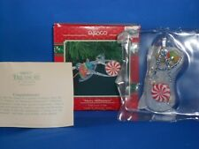 1986 Santa's Little Tailor Enesco Treasury Christmas Ornament Stringing Popcorn