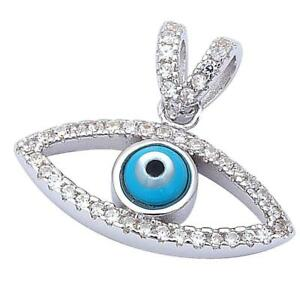 "Cz & Blue Evil Eye .925 Sterling Silver Pendant .5""x.75"" long"