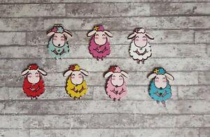 20 Wooden Sheep Buttons Cute Lamb Animals Novelty Craft Embellishments 30mm UK