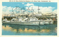 Postcard US Navy Submarine Chasers, US Navy Yard, Portsmouth, VA