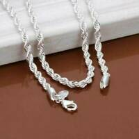 "925 Sterling Solid Silver Rope Twist Necklace Chain For Women Men 3mm 16-30""-"