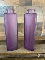 """Set of 2 Ikea Frosted Purple Lillac Glass Bottle/Vase 8"""""""