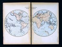 1869 Historical Map World Hemispheres - European Discovery of North America