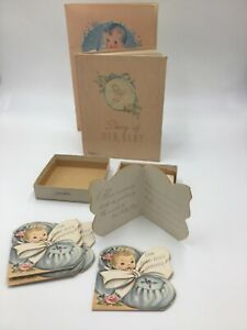 Vintage Baby Memory Keepsake Record Books and Announcements 1940s