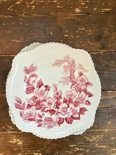 (5) Square Salad Plates, Windsor Ware, Johnson Bros, Square Floral Red, Cottage